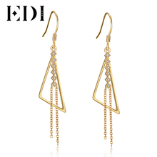 EDI Trendy 925 Sterling Silver Long Tassels Drop Earrings Moissanite Lab Grown Diamond Fashion Engagement Fine Jewelry For Women(China)