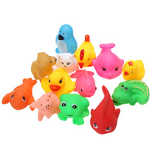 12pcs Cute Soft Baby Bath Toys Rubber Duck Animal Float Squeeze Sound Mini Wash Bath Toys Kids Educational Toys WJ090(China)