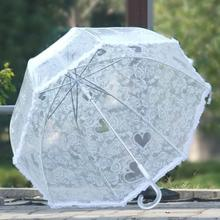 New thickening transparent umbrella Apollo automatic love heart lace Sunny and rainy umbrella beach umbrella(China)