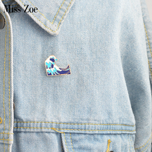 Miss Zoe Cartoon waves pins brooch Pins Childlike Button Glaze pin Denim Jacket Pin Badge Jewelry Gift for Kids friends(China)