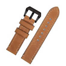 Crazy Horse Genuine Leather Handmade Watchband Special Tan color Black&Silver Hardware 20mm 22mm 24mm