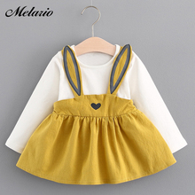 Melario Baby Dresses 2017 Summer New Baby Girls Clothes Lace Bow tie Mini A-Line Baby Princess Dress Cute Cotton Kids Clothing(China)