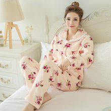 QWEEK Autumn/Winter Thick Flannel Women Pajama Long Sleeve Pijama Adult Ladies Cute Sleepwear Pyjamas 2 Pieces Home Clothing(China)