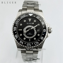 New 43mm Titanium Bezel GMT Luminous Hands Black Bezel Sapphire Glass Automatic Day Men's Watch
