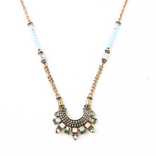 New Fashion Trending 2015 Hot Sale Beaded Long Stone Necklace Pendant Retro Egypt Maxi Necklace Accessory