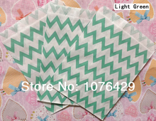 50 Pcs/2 Pack Light Green Chevron Striped Treat Craft Bags Favor Food Paper Bags Party Birthday Decoration Color 11