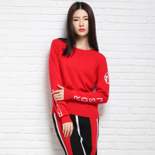 Cashmere Wool Blend Brand Elegant Pattern Pullover O-neck Long Sleeve Knitwear Stylish Casual Slim Knitted Women's Sweaters Tops(China)