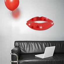 1Set DIY 3D Mirror Acrylic Wall Stickers Lip Shape Silver Sofa Background Wall Decals Home Living Room Decoration IC601652