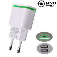 Universal LED Light Dual USB Ports 5V 2A EU US Mobile Phone Wall Travel Power Charger Adapter For Samsung For iPhone Smartphone