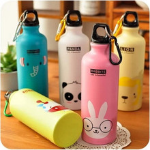 DUOLVQI 500ML Water Bottle Candy Color Cute Cartoon Pattern Aluminum Water Bottle Outdoor Travel Sports Kitchen Accessories(China)