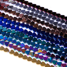 Top quality 4/6/8/10mm Natural stone bright multicolor heart shape loose hematite beads for DIY jewelry necklace bracelet making