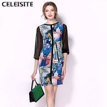 CELEISITE High-End Custom European Graffiti Chiffon Dresses Patchwork Package Buttocks Slim Fit Mulberry Silk Bandage Dress C123