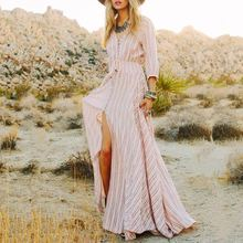 Womens 2017 SummerBohe Style Dresses Arrival Ladies Sexy Striped Dress Five Sleeve Deep V Neck Split ends Party Women Dress(China)