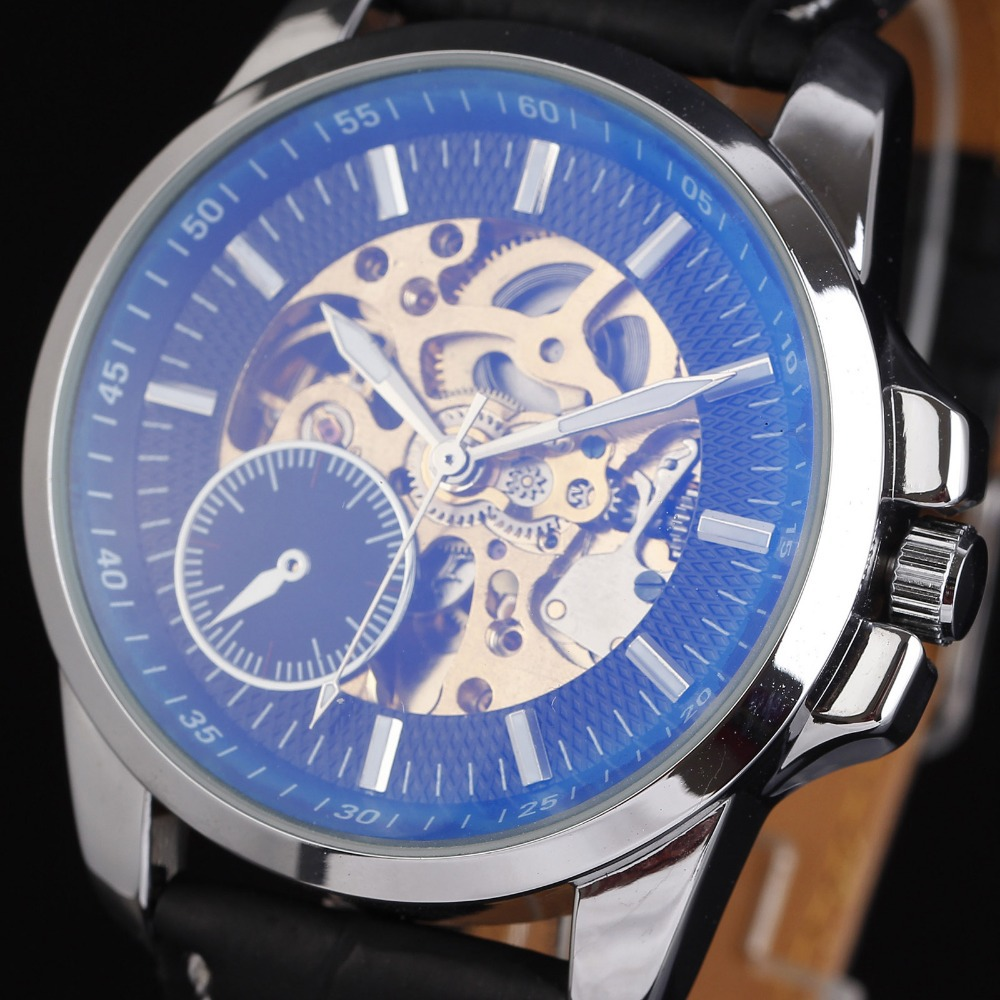 WINNER Mens Skeleton Clock Luxury Brand Steel Case Coated Glass Automatic Mechanical Watch Leather Strap Wrist Watches For Men<br><br>Aliexpress