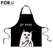 FORUDESIGNS Go Away Cat Kitchen Apron Pink Black White Woman Cooking BBQ Aprons Funny Cat Denim Blue Chef Aprons for Woman Girls(China)
