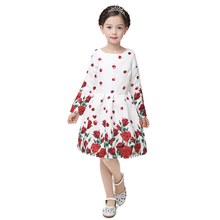 Autumn Kids Dresses For Girls clothing Long Sleeve Butterfly Print Princess Dresses Teenagers Girl Party Dress Children Clothes