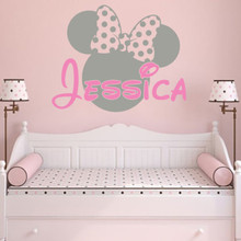 Mickey Mouse Minnie Vinyl Mural Wall Sticker Decals Kids Nursery Room Decor Personalized Name Girl Wall Stickers Muraux D663(China)