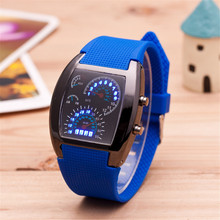 2017 Fashion Casual Digital Led Watches Cool Car Meter Dial Unisex Black Flash Dot Matrix LED Racing Watch Sports Clock relogio