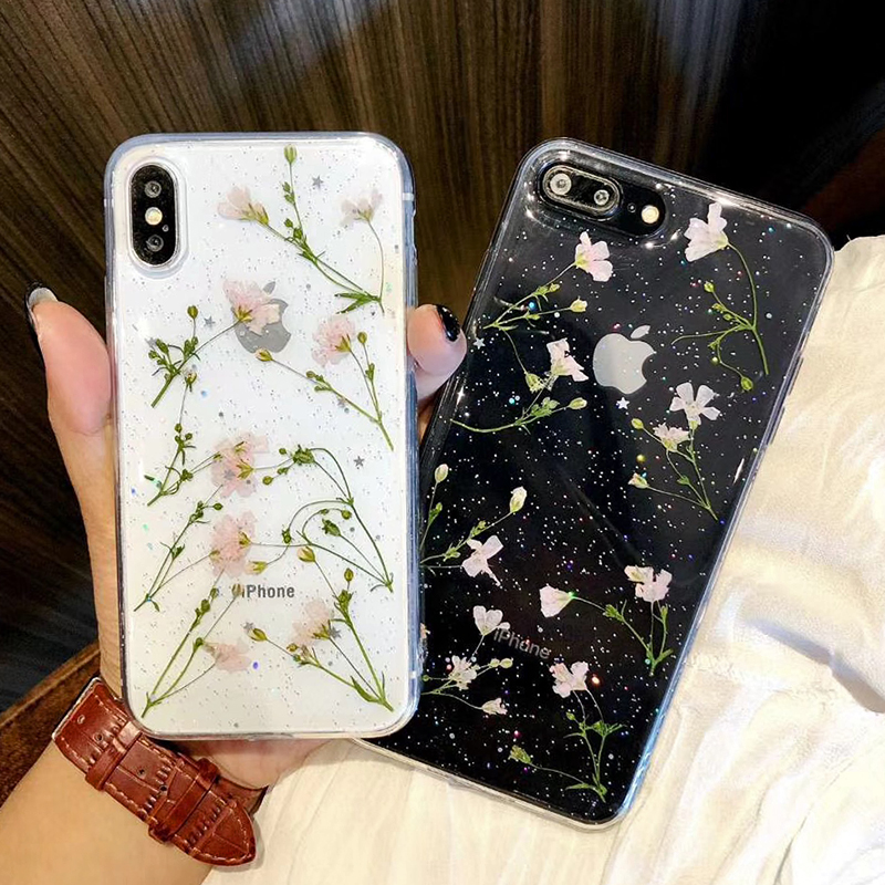 Clear Phone Cases For iPhone X Fashion Real Dried Flower Cases For iphone 6 6S 7 Plus Floral Back Cover For iPhone 8 Plus Fundas (5)