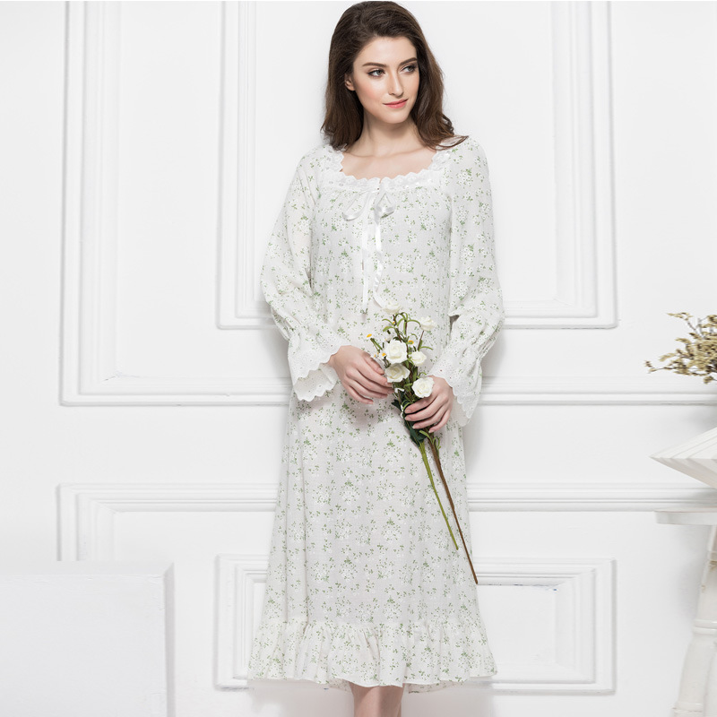 2018 Court Retro Floral Cotton Pregnant Women Nightgown Long Sleeve Large Size Leisure Home Clothes Pregnancy Pajamas YFQ236<br>