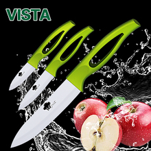 "Myvit Brand Ceramic Knives Kitchen Knives accessories set 3""fruit 4""utility 5""slicing Green Handle White Blade  Cooking Knives"