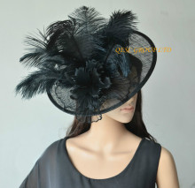 NEW Black BIG sinamay hat Saucer fascinator crin fascinator with long ostrich feathers for races,wedding,kentucky derby,church.