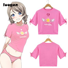 Summer Women Sweet Cute Love Shap Heart Hollow out Chest Sexy T-shirt Anime Cotton Short sleeve Card Captor Sakura Tee Tops