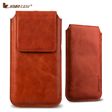 Jisoncase Phone Bag for iPhone 8 8 Plus Sleeve Luxury Genuine Leather Pouch Bag Magnetic Closure for iPhone 8 8 Plus Case Cover(China)