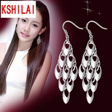 Silver plated peacock tail tassel earrings long section of high-quality fashion cute lady jewelry manufacturers, wholesale
