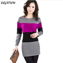 2018 new Spring Long Pullovers Women Sweater Dress High Quality Cashmere Sweater Women Cheap Winter Clothes Stripe Tops 8 colors(China)