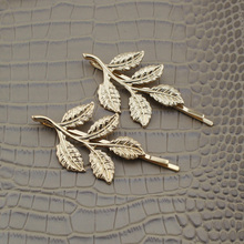 New Hot Women's Gold Hair Jewelry Leaf Hair Pins Clips For Girl Lady Women's 2017 Jewelry GDI