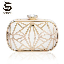 Luxurious Hollow Out Gold/White Clutch Crystal Diamond Evening Clutch Bags Purses Women Lady Bridal Chains Shoulder Handbags(China)