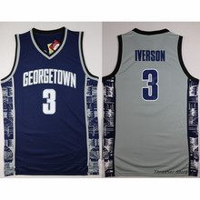 Allen Iverson #3 Black/Blue/Grey Georgetown Hoyas Retro Throwback Stitched Basketball Jersey Sewn Camisa Embroidery Logos