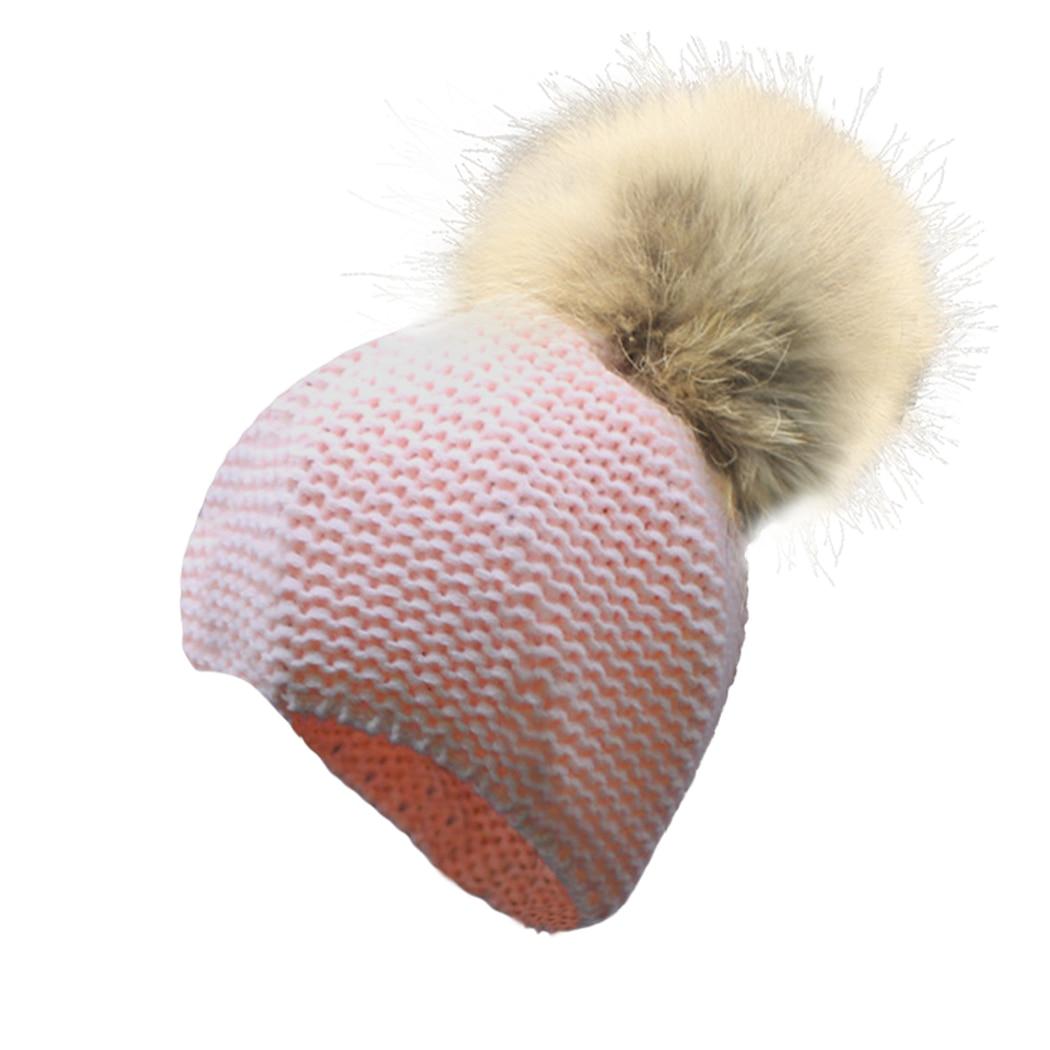 Detachable Real Nature Raccoon Fur Pompoms Hat Kid Baby Boy Girl Infant warm Winter Autumn Thick Hat Beanie Fur Pom Child BonnetÎäåæäà è àêñåññóàðû<br><br><br>Aliexpress