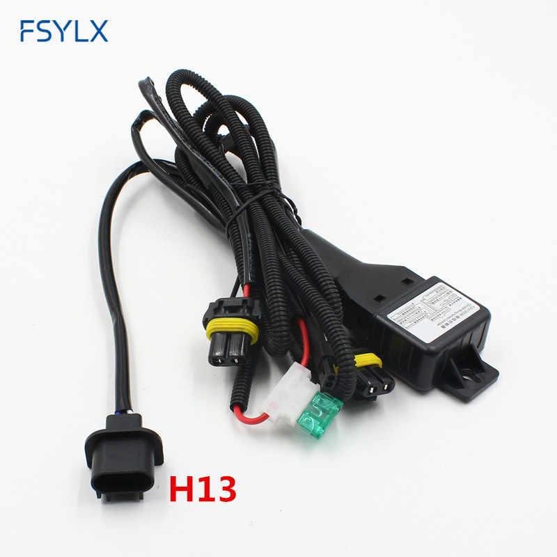 fsylx car h13 9004 9007 h4 hi lo beam relay wiring harness xenon 9007 h4 hid headlight conversion hid xenon relay wire cables 9007 Headlight Socket