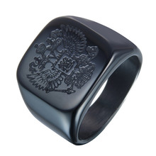 Polished Corrosion etching design Stainless Steel Eagle ring Band Biker Men's ring a coat of arms of the Russian Signet Ring(China)