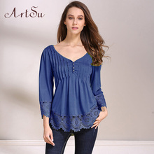 ArtSu Women Shirts Elegant Lace V Neck Blouses Tops Spring Sexy Ladies 3/4 Sleeve Blusas Plus Size  ASBL20020