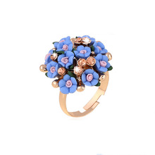 SHUANGR Fashion Beautiful Ceramic Flower Ring for Women Adjustable Wedding Rings Jewelry 7 Colors Summer Style Rings(China)