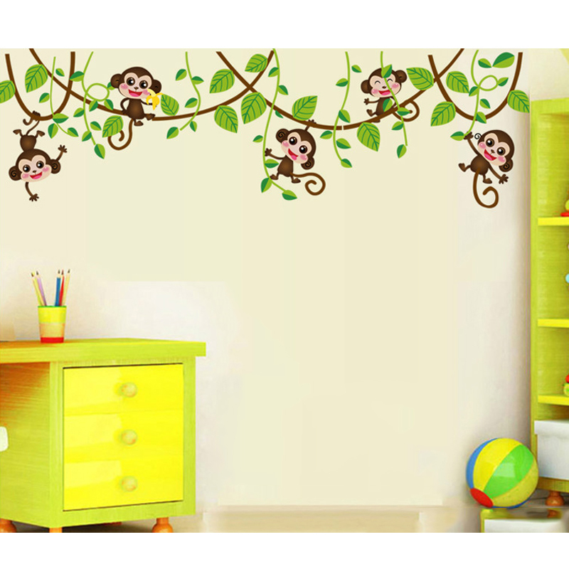 HTB1RKsdSpXXXXaTXVXXq6xXFXXX5 - Monkeys Vinyl Tree Wall Stickers For Kids Rooms