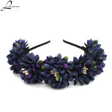 Lanxxy New Women Hair Accessories Girls Flowers Hairbands Beach Hairwear Bridal Floral Crown Wreath Headband Hair Bands(China)