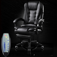 Office Boss Chair PU Leather Rotatable Lift Massage Chair With Footrest Household Reclining Chair Ergonomic Computer Armchair(China)