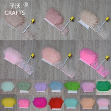 "2017 new 1meter high quality ostrich feather trimming edge DIY sewing garment edge 4-6 ""/ 10-15cm 31 colors(China)"