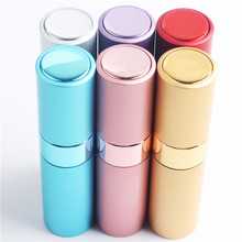 1* 8ML Empty Sample Lipstick Shape Glass Perfume Bottle 8ML Rotary Type spray Aluminum Cosmetic Packaging Parfum Bottle