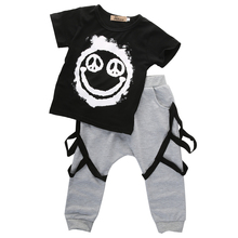 Summer New Fashion Rock Punk style Toddler baby boy clothes set T-shit with Harem Pants 2 piece set retail