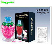 Happyxuan DIY 3D Jigsaw Crystal Puzzle Strawberry Kitty Plastic Educational Toys or Home Decoration Birthday Gif t for Children