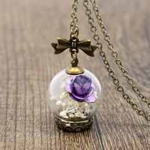 NingXiang Purple Rose Flower Glass Wishing Bottle Necklace Women Statement Long Maxi Necklace Pendant Girl Friend Christmas Gift