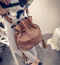 fashion pu imitation leather vintage flower bucket shoulder bag winter small brown drawstring  cross body bag