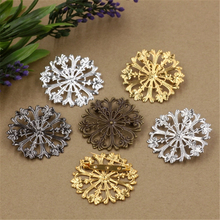 51mm Filigree Hollow Out Flower Brooch Base Setting Jewelry Accessories Vintage Antique Bronze Plated DIY Components(China)