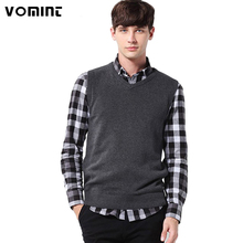 Vomint Classic Mens' Pullover Sweater Vest V-Neck New Sweater 100% Cotton Knitted Plus Size Slim Class Vest Size: S-3XL S6AW003(China)