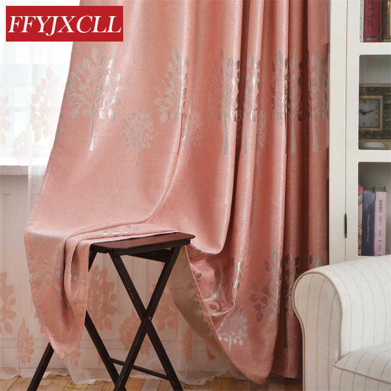 Double Sided Printed Trees Pattern Jacquard Blackout Curtains for Living Room Bedroom Window Velvet Curtain Tulle kitchen Drapes